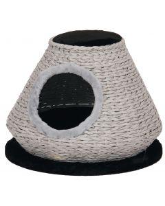 Mand Kat Huis Rotan Zwart/Wit 50cm