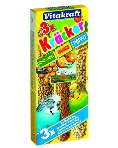 Vitakraft Parkietkracker met Honing, Sinaasappel en Popfit 3 in 1