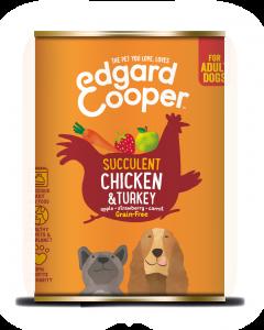 Edgard & Cooper | Kip & Kalkoen Blik | Voor volwassen honden | Hondenvoer | 400g